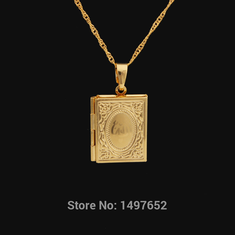 New Arrival Gold Color Allah Book Pendant Necklace For