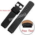 Pulseira inteligente para huawei watch qualidade genuína banda de relógio de couro dos homens de 18mm cinta preta huawei inteligente relógios acessórios