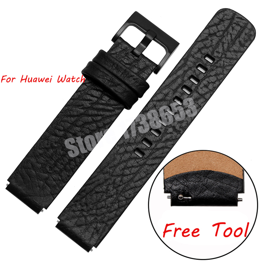 где купить  Smart Watchband For Huawei watch Quality Genuine Leather Watch band Mens 18mm Black Strap Huawei Smart watches accessories  дешево