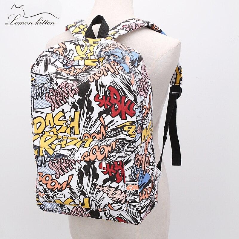 2019 Female Backpack Cartoon Street Graffiti Canvas Backpack Girl Female Best Travel Bag Women Backpack Mochila Rucksack Bagpack #4