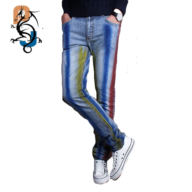 Personality Design Fashion Male Colored Drawing Straight Jeans Men s Denim Movie Characters Pattern Printed Jeans