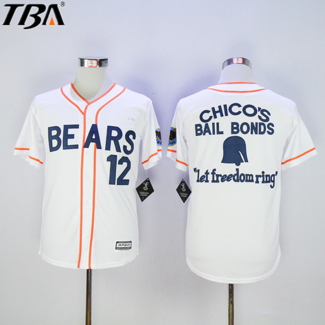 a6d0e9f6e34 2017 New Bad News BEARS Movie Chicos Bail Bonds 12 Tanner Boyle Retro Sewn  Button Down Baseball Jerseys