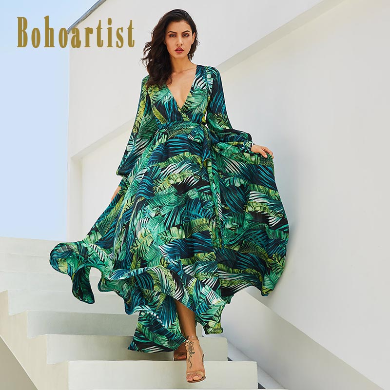 Bohoartist Summer Long Dresses V Neck Lace-Up Floral Print Green Sexy Ladies 2018 New Bohemian Stylish Maxi Dresses For Women
