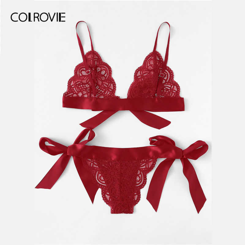 bf650daf7d ... COLROVIE Red Christmas Scalloped Trim Tie Side Sexy Lingerie Set 2019  Wireless Ribbon Intimates Transparent Underwear ...
