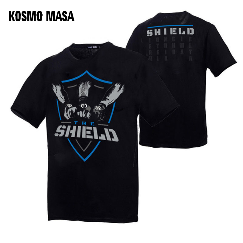 KOSMO MASA Wrestling Men T-shirts Cotton T Shirt Men Cool Summer The Shield <font><b>Funny</b></font> <font><b>Tshirt</b></font> For Men Casual Short Sleeve Tops MC0292 image