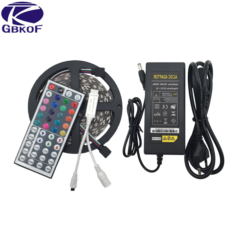RGB 5050 led strip 12V for christmas & home decoration+IR remote controller+110V 220V input 5A power adapter China wholesaler ...