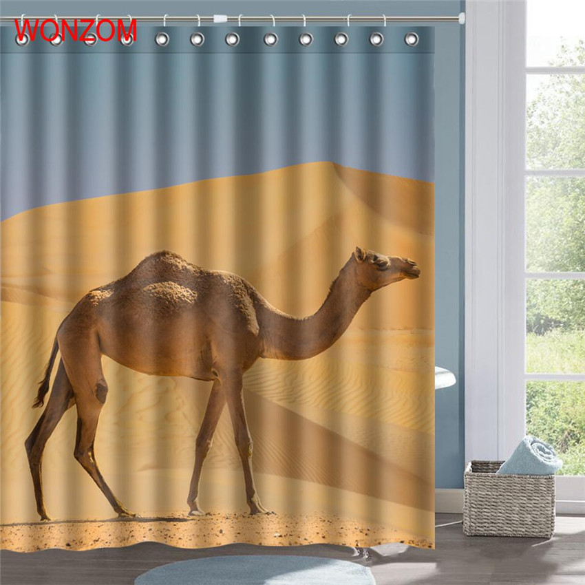 WONZOM Giraffe Bathroom Accessorie Camel Shower Curtains With 12 Hooks For Decor Modern Zebra Bath Waterproof Curtain In From Home