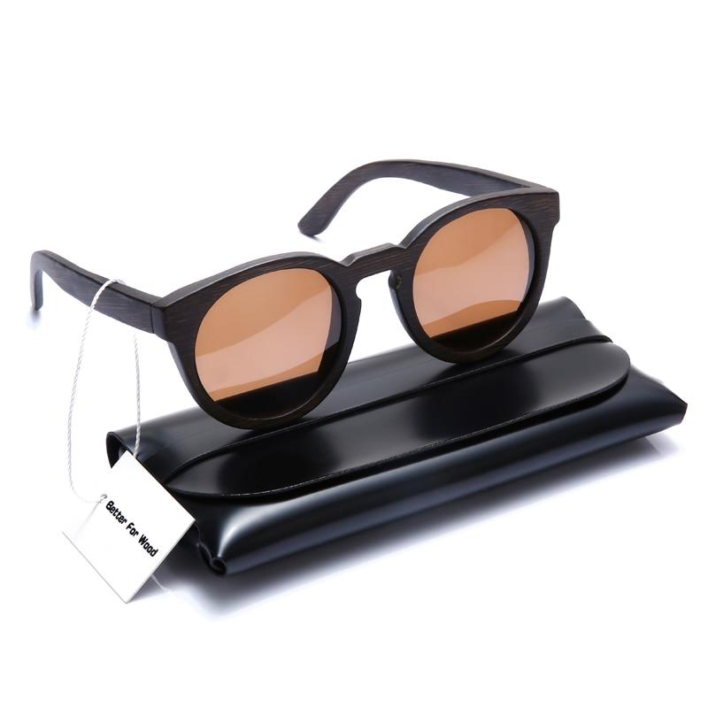 Bambus Und Holz Brown Lens Für Vision Freies Sonnenbrille Mit Frauen Runde With Verschiffen Fall Case Klare Leder Polarisierte Männer xYq45nCw