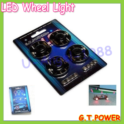 Wholesale 4pcs set RC Model Car Dynmaic Wheel Light LED Set G T POWER rc car