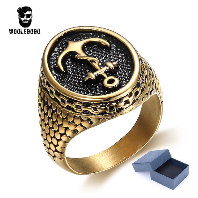 WooLeGoGo Gold Anchor Chain Snakeskin Men Ring Stainless Steel Mens Jewelry Punk