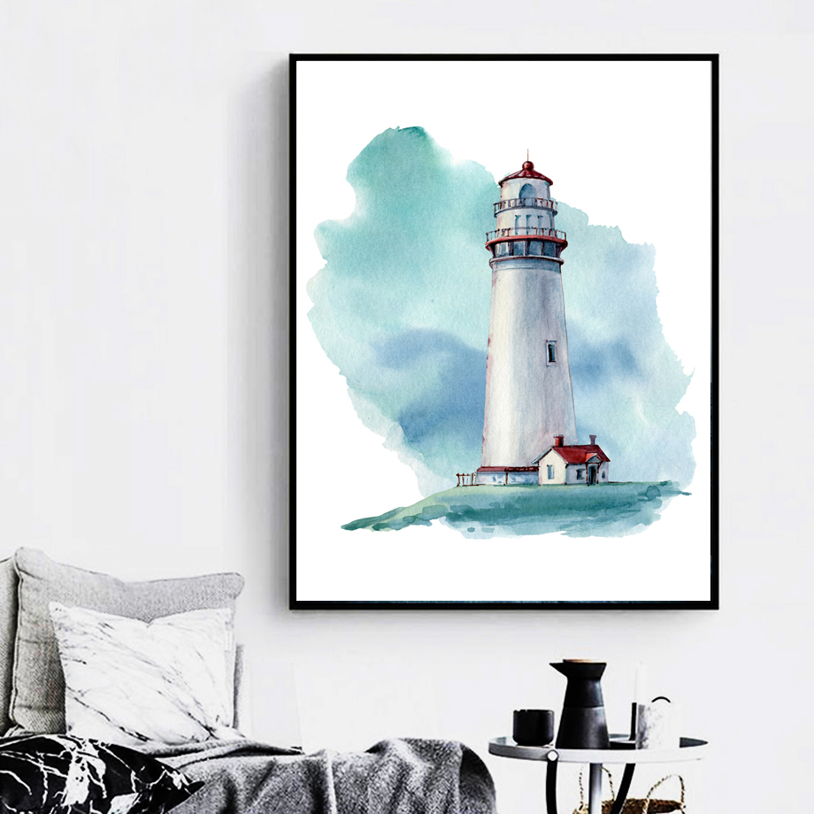 Watercolor Lighthouse Crab Seahorse Nordic Posters And Prints Wall Art Canvas Painting Wall Pictures For Living Room Home Decor in Painting Calligraphy from Home Garden
