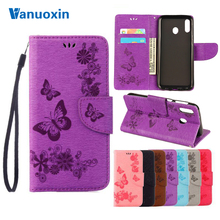 Y6(2019)Leather Cases For Huawei Y6 2019 Case Coque Y 6 Y6Prime Prime Butterfly Flip cover wallet Phone Bag