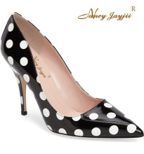 Nancyjayjii Mature Women Black Pointed Toe High Heels White Spot Pointed Pleather Pumps Party&Evening&Dress Shoes,Plus Size 4-16