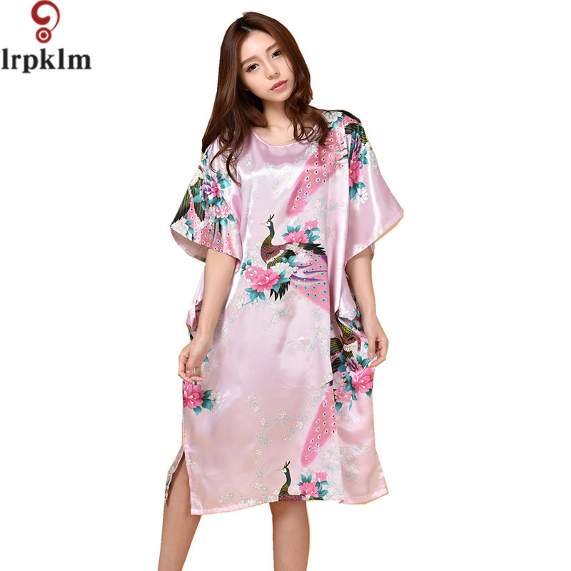 Top Fashion Summer Style Women   Nightgowns     Sleepshirts   Faux Silk Ladies Lounge Night Dress Sexy Silk Nighties Vintage Print 634