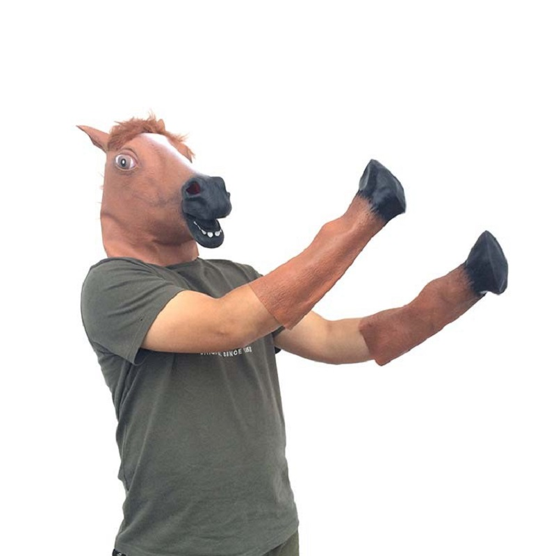 Natural Halloween latex mask animal cap brown horse suit Cos horse head mask party decoration supplies ...