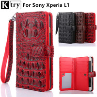 K Try For Sony Xperia L1 Case Luxury Crocodile Pattern Pu Leather Wallet Case For Sony