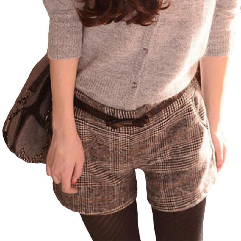 INDJXND Plus Size 2019 Fashion Autumn Winter Women Straight Large Thicken Plaid Casual Elastic Waist Cotton Lattice Loose Short