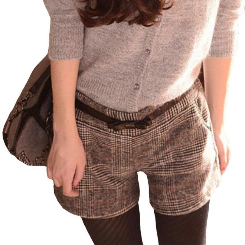 INDJXND Plus Size 2020 Fashion Autumn Winter Women Straight Large Thicken Plaid Casual Elastic Waist Cotton Lattice Loose Short