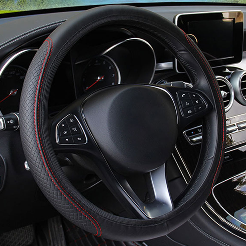 Рулевая намотка на руль наборы блюд Универсальный руль чехлы рулевое колесо дышат свободно 15 дюймов автомобили прочные - Название цвета: black red