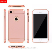 3 in 1 Rose Gold Luxury Hard PC Case For iphone 7 6 6S 5 5S SE Back Cover Coverage Fundas Case For iphone 6 6s Plus 7 Plus Bag
