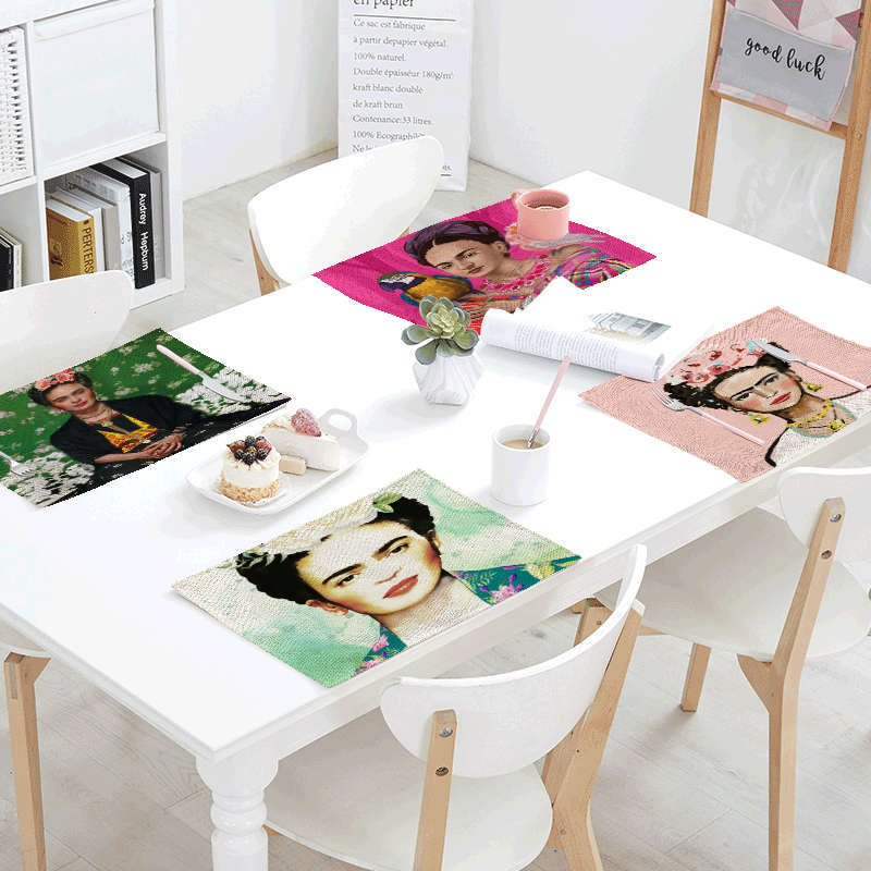 Famous Artist Frida Table Napkin Flower Rose Parrot Decorate Living Room Dining Hall Cartoon Sex Red Lips Table Mat Placemat