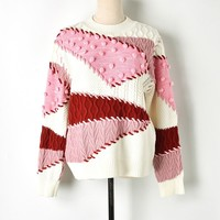 Excellent Quality Women Stylish Sweater Ball patchwork Sweaters Long Sleeve Pullover Ladies Casual Plus Size Tops Outwear