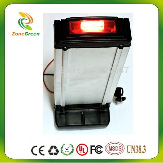 36v10ah rear rack battery silver housing ncm lithium ion eb electric
