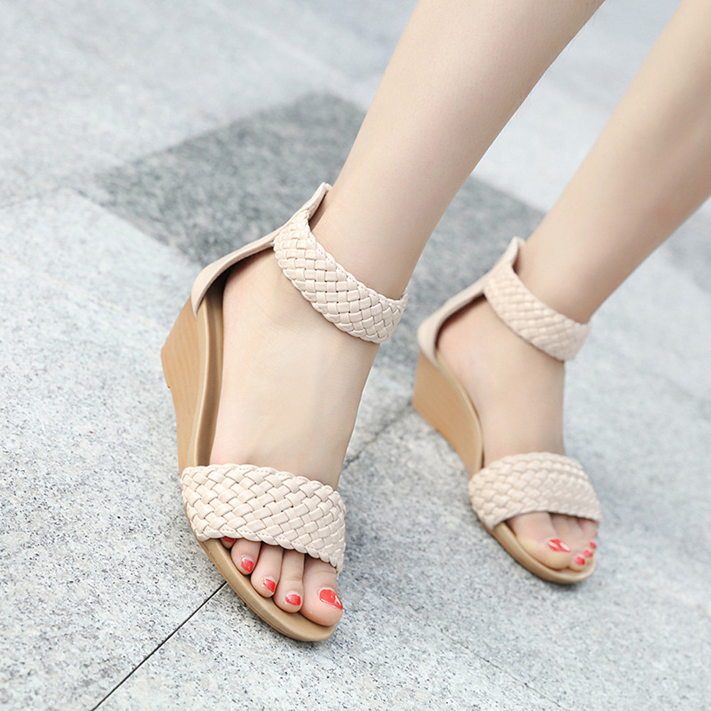 Women Sandals Middle-Heel Wedges Bohemia-Shoes Fashion Summer Weave Leisure