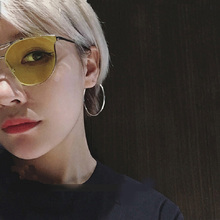 Shaped Sunglasses women metal Reflective  Fashion sun Brand Designer sun Glasses Cat Eye Women Sunglasses Vintage sunglasses