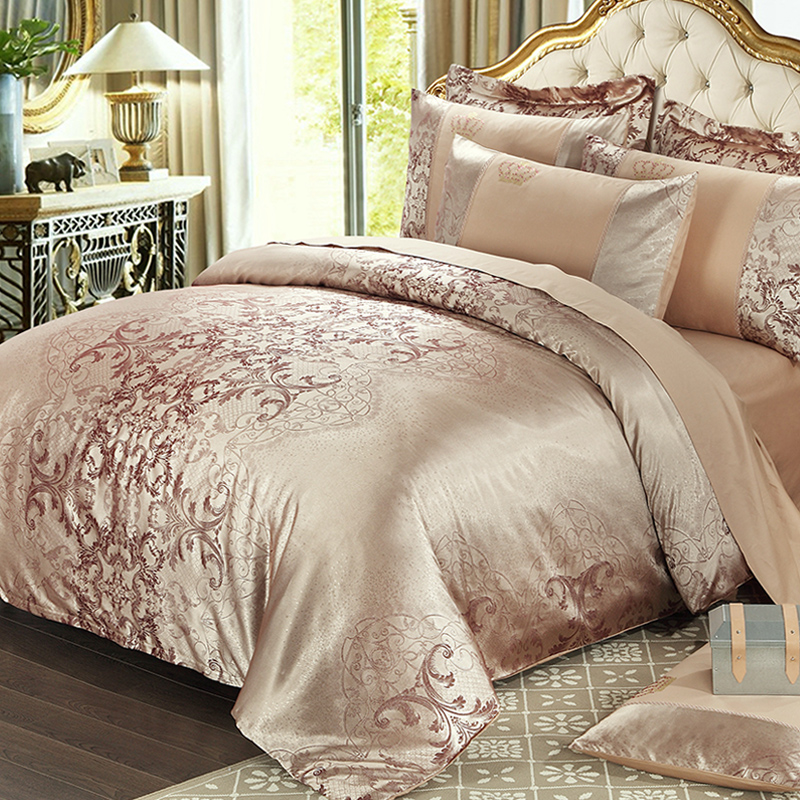 Luxury New Designer 100%Cotton Golden Yellow Bedding Sets Bed Sheet  Jacquard Duvet Cover Pillowcase