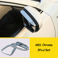 For Ford Focus 2019 Accessories ABS Chrome/Carbon Fibre Car rearview mirror block rain eyebrow Cover trim Car Styling 2pcs