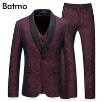 Fashion slim fit new Wine red Cotton Men Suit wedding Party Prom smoking Tuxedo Mens Casual Work Wear Suits (Jacket+Pants+Vest)