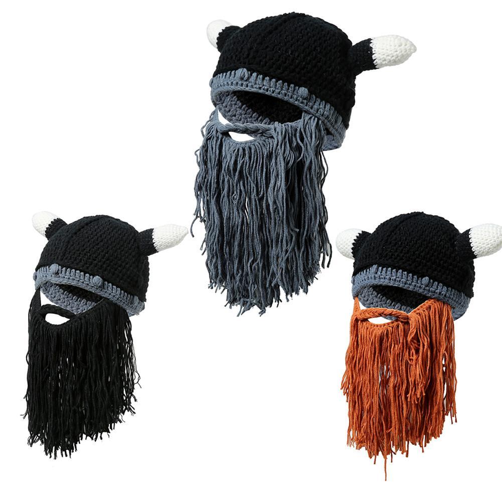 Unisex Vagabond Viking Beard Beanies Popular Hat Head Horn Hats Handmade Knit Winter Warm Holiday Party Cosplay Hat Xmas Gifts