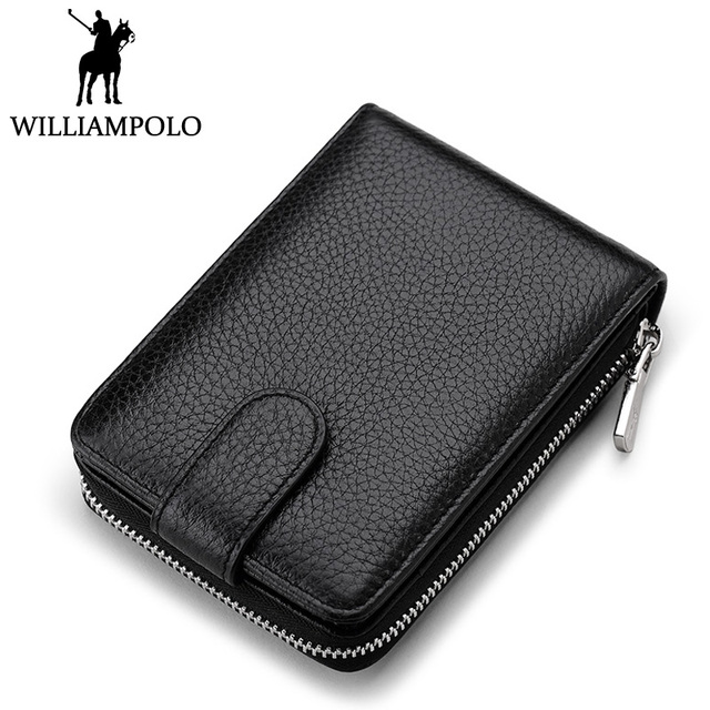 WILLIAMPOLO Unisex Credit Card Holder Genuine Leather Business Card Case Hasp Box Coin Pocket Wallet Driver License Holder Men