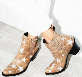 Mixed Color Stars Patchwork Women Ankle Boots Cowboy Style Laides Point Toe Boots Slip On Female Fashion Western Style Boots
