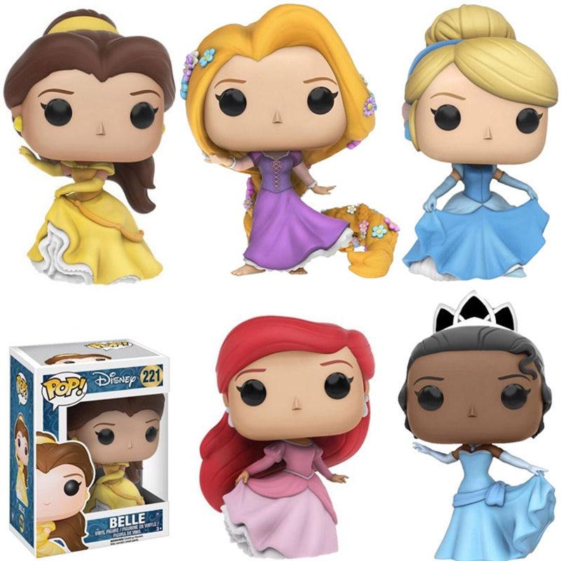 Funko pop dos desenhos animados princesa boneca belle ariel rapunzel cinderela tiana pvc figura de ação coleção modelo brinquedos para crianças presente
