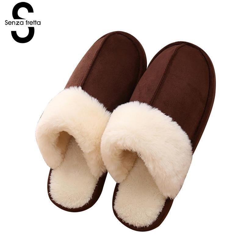 Senza Fretta Men Shoes Winter Warm Couple Wool Slipprs Indoor Soft Thick Bottom Non-slip Slippers Men Warm Slippers Plus Size