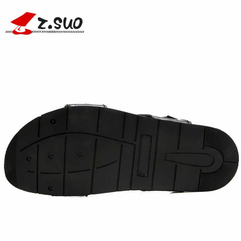 Z. Suo/мужские кожаные сандалии 2018 г. летняя модная пляжная обувь для отдыха водонепроницаемые Нескользящие тапочки на плоской подошве Мужская обувь 19605