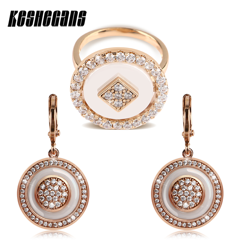 Vintage Rose Gold Jewelry Set Big Round Steel Rings And Circle Drop Earrings Hollow Back For Women Crystal Fashion Jewelry Set korean fashion trend round printed hollow wooden earrings