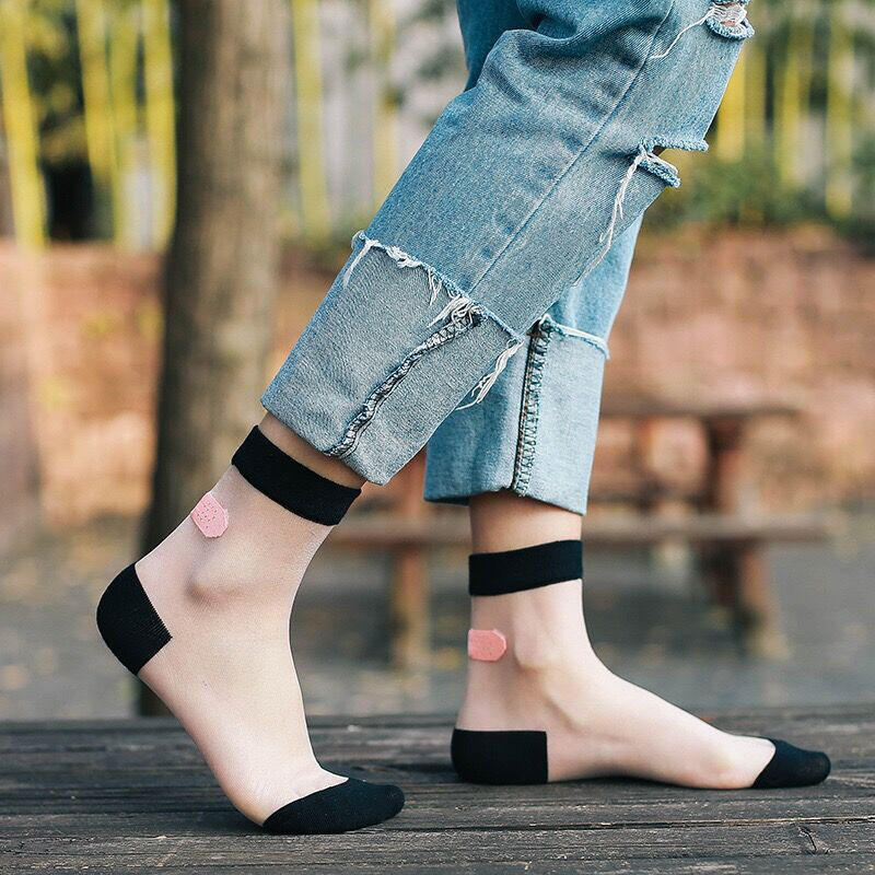 Hot Sale Glass Silk Stretch Band Aid Transparent Japanese Style Cute Fashion Summer College Wind Patchwork Casual Female   Socks
