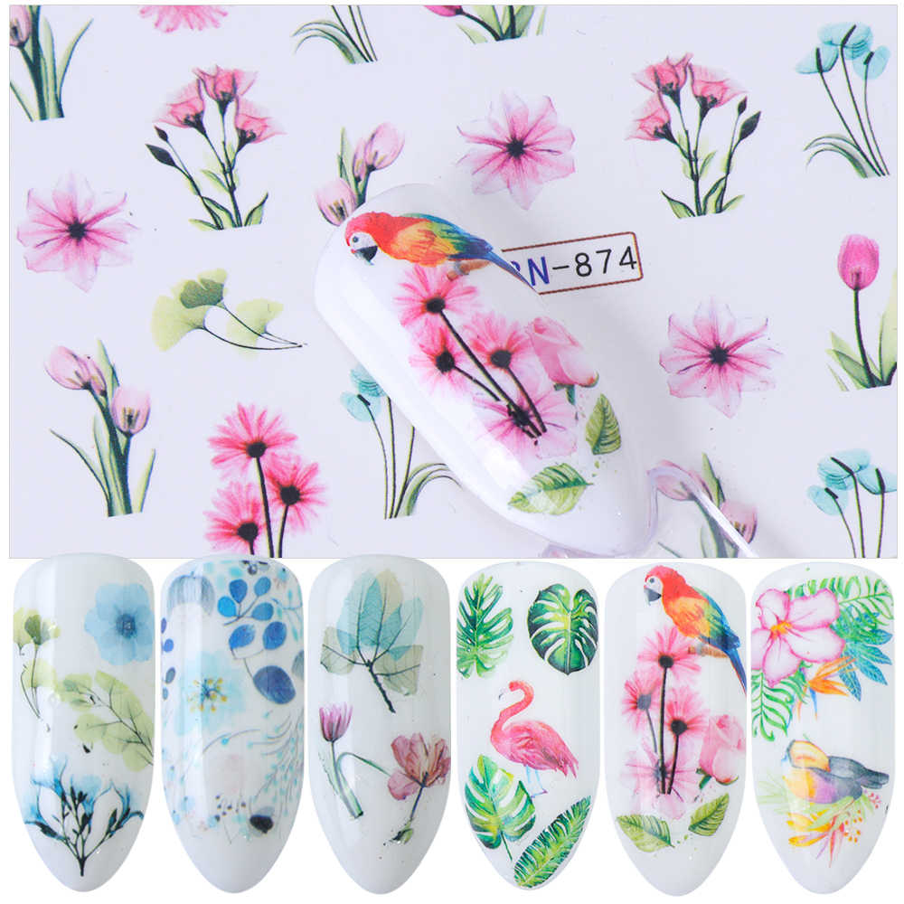 Detail Feedback Questions About 1pcs Nail Sticker Flamingo Daisy
