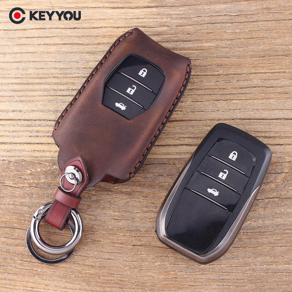 KEYYOU Genuine Leather For Toyota Camry RAV4 Crown Highlander Corolla 3 Buttons Key Shell Keychain Car Key Case Key Cover new 2 buttons 3 buttons modified flip folding remote key case shell for toyota camry corolla reiz rav4 crown key fob cover