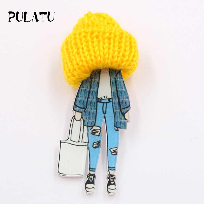 PULATU Wool Cap Girl  Brooches for Women Acrylic Pins Boys and Girls Bag Sweater Coat Jewelry Accessories Birthday Gift XZ0905