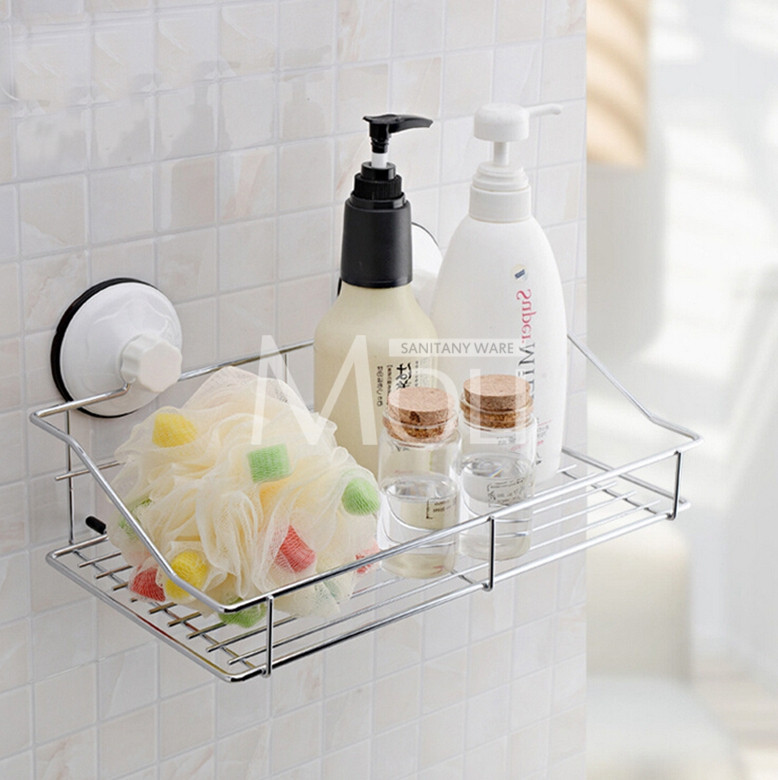 Stainless steel bathroom storage basket vacuum suction cup wall ...