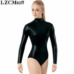 Image 3 - LZCMsoft Adult Shiny Metallic Mock Neck Leotard Women Black Long Sleeve Gymnastics Performance Ballet Dance Leotards Teams Wear