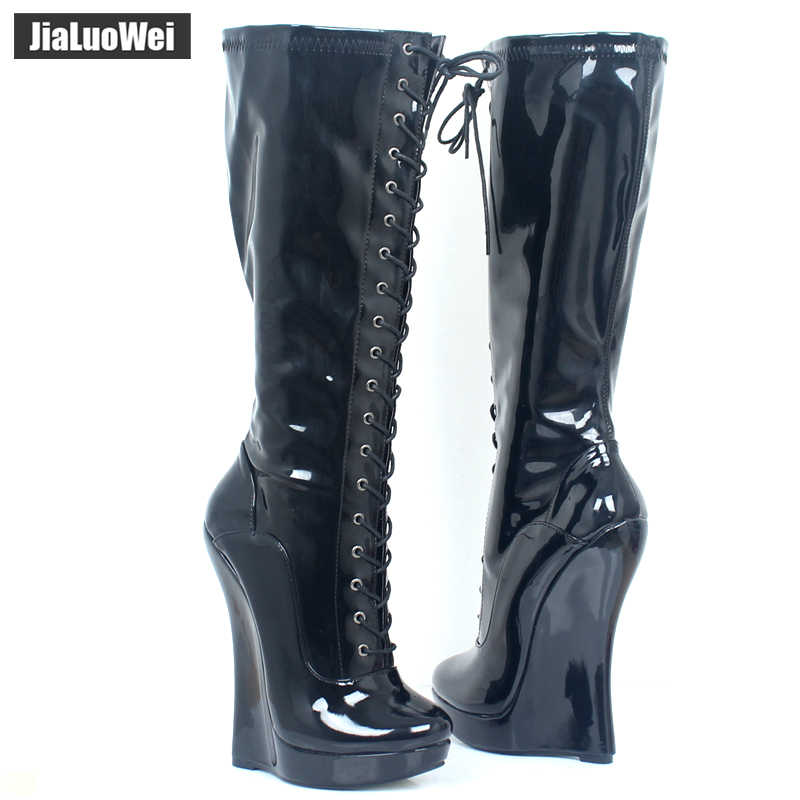 95fb05f92e2 ... Brand New Ballet Boots Lace-up 18cm Wedge heel with strange Heel 3CM  Platform Patent ...