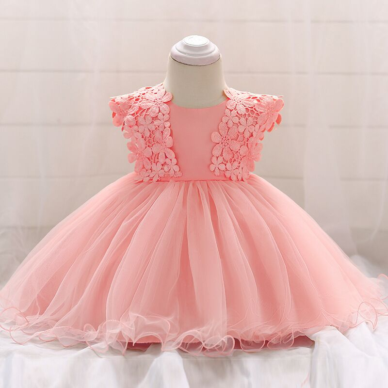 Drop Ship Lace Crochet Bow Princess Dress 1 Years Birthday Lace Fowers Newborn Girls Tulle Wedding Baby Party Dress