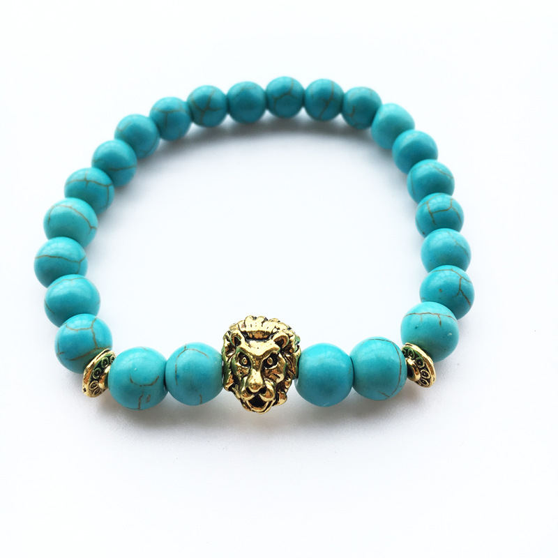 Yoga Gold Lion Head Lava Stone Bracelets for Women Men Buddha Chakra Bracelet Femme Braslet Men Jewelry Pulseira Holiday Gift