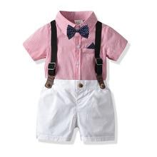 цена на Boys Clothes Sets Summer Gentleman Suit Short Sleeve Shirt+Shorts Kids Boys Clothing Set 1 2 3 4 5 6 7 Years Toddler Boy Clothes