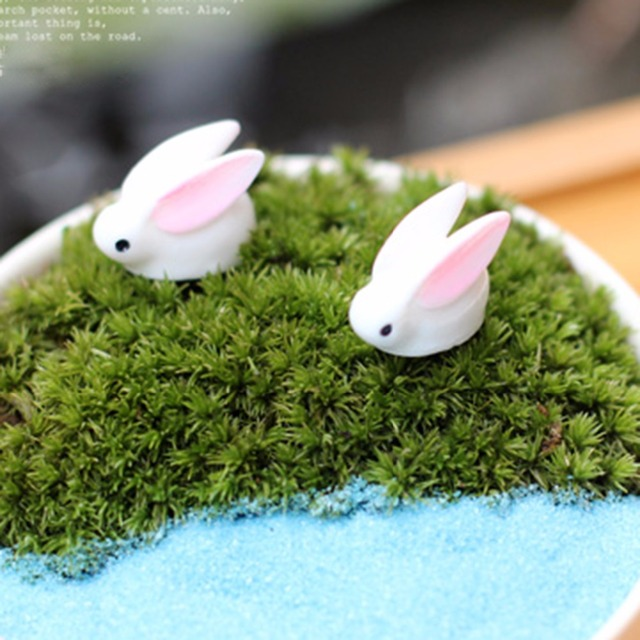 Micro Landscape World Funny Bunny Garden Ornaments Mini Bunny Potted Home  Garden Bonsai Micro Landscape DIY